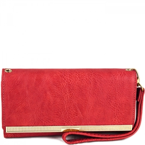 Gold Tone Accent Wallet with Wristlet and Strap - W777# - Coral