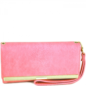 Gold Tone Accent Wallet with Wristlet and Strap - W777# - Pink