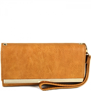Gold Tone Accent Wallet with Wristlet and Strap - W777# - Tan