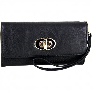 Front Gold Metal Claps Accent Wallet with Strap - Black