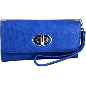 Front Gold Metal Claps Accent Wallet with Strap - Navy