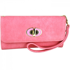 Front Gold Metal Claps Accent Wallet with Strap - Pink