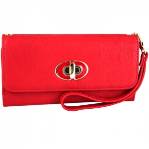 Front Gold Metal Claps Accent Wallet with Strap - Red