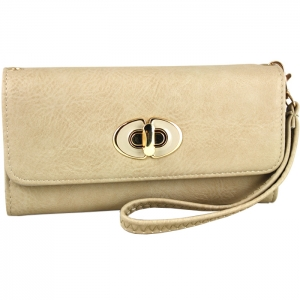 Front Gold Metal Claps Accent Wallet with Strap - Taupe
