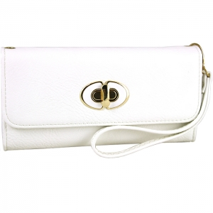 Front Gold Metal Claps Accent Wallet with Strap - White