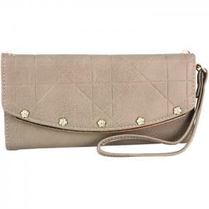 5 Gold Studded Accent Gold Metal Frame Wallet with Wristlet and Strap - Taupe