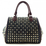 Faux Leather Rhinestone Stud Accent Satchel Bag - Black