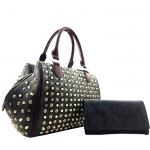 Faux Leather Rhinestone Stud Accent Satchel Bag with Matching Wallet - Black