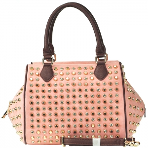 Faux Leather Rhinestone Stud Accent Satchel Bag - Pink