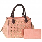 Faux Leather Rhinestone Stud Accent Satchel Bag with Matching Wallet - Pink