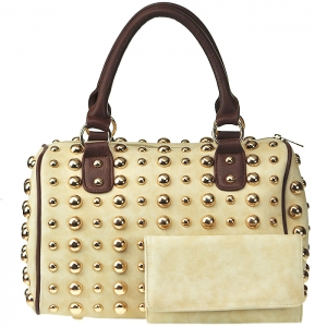 All Over Gold Tone Studdent Satchel Handbag with Matching Wallet - Beige