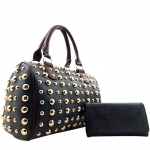 All Over Gold Tone Studdent Satchel Handbag with Matching Wallet - Black