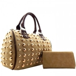 All Over Gold Tone Studdent Satchel Handbag with Matching Wallet - Khaki