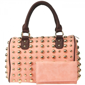 All Over Gold Tone Studdent Satchel Handbag with Matching Wallet - Pink