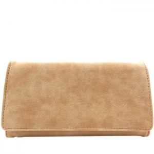 Textured Faux Leather Checkbook Wallet - Beige