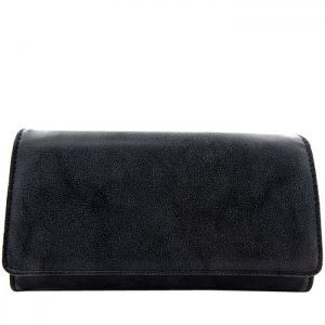 Textured Faux Leather Checkbook Wallet - Black