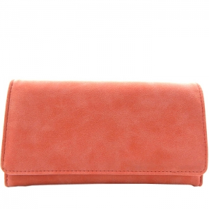 Textured Faux Leather Checkbook Wallet - Pink