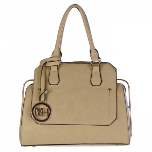 Faux Leather Hidden Diamond Top Tote Bag 32656 - Beige