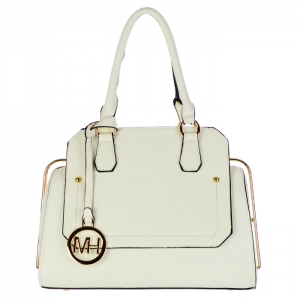 Faux Leather Hidden Diamond Top Tote Bag 32656 - Off White