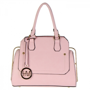 Faux Leather Hidden Diamond Top Tote Bag 32656 - Pink
