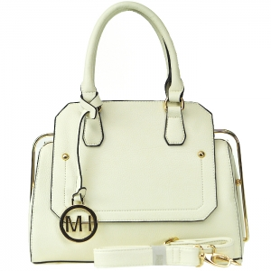 Faux Leather Hidden Diamond Top Tote Bag - Off White
