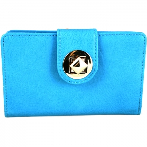 Square Style Square Gold Metal Clasp Wallet - Blue
