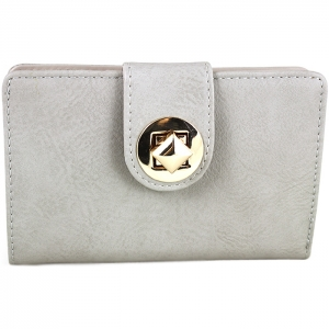 Square Style Square Gold Metal Clasp Wallet - Grey