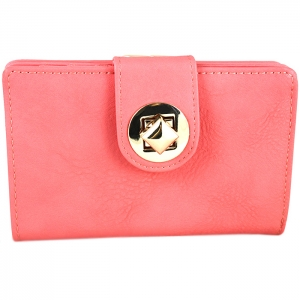 Square Style Square Gold Metal Clasp Wallet - Pink