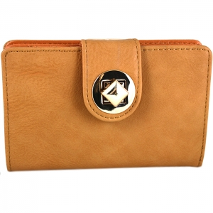 Square Style Square Gold Metal Clasp Wallet - Tan