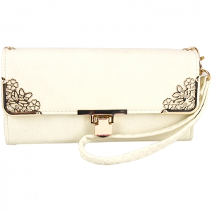 Floral Gold Tone Accent Swing Clasp Wallet with Wristlet and Strap - Beige