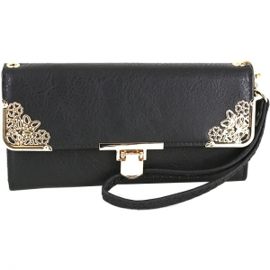 Floral Gold Tone Accent Swing Clasp Wallet with Wristlet and Strap - Black