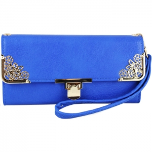 Floral Gold Tone Accent Swing Clasp Wallet with Wristlet and Strap - Blue