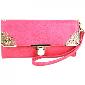 Floral Gold Tone Accent Swing Clasp Wallet with Wristlet and Strap - Pink