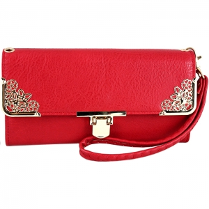 Floral Gold Tone Accent Swing Clasp Wallet with Wristlet and Strap - Red