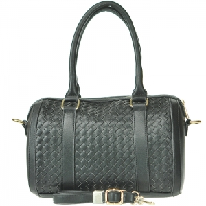 Faux Leather Circular Tube Style Handbag with Strap - Black