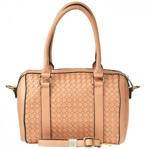 Faux Leather Circular Tube Style Handbag with Strap - Blush
