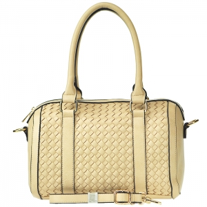 Faux Leather Circular Tube Style Handbag with Strap - Nude