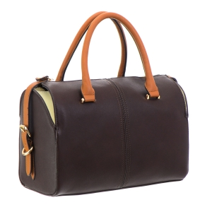 Faux Leather Handbag 32689 - Brown