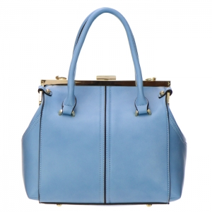 Faux Leather Gold Accents and Metal Frame Handbag 32693 - Blue