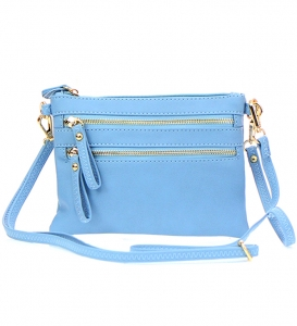 Petit Double Zippered Pocket Clutch with Wristlet and Strap - K001 32701 -Blue