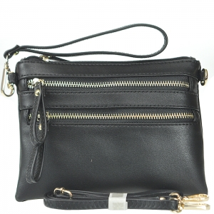 Petit Double Zippered Pocket Clutch with Wristlet and Strap - K001 - Black