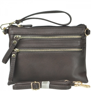 Petit Double Zippered Pocket Clutch with Wristlet and Strap - K001 - Brown