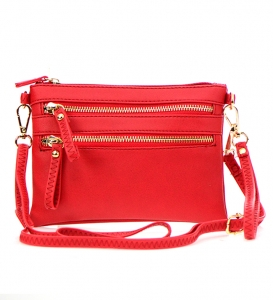 Petit Double Zippered Pocket Clutch with Wristlet and Strap - K001 32701 -Red