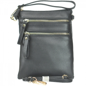 Double Zippered Pocket Clutch with Wristlet and Strap - K002 - Black 80808A
