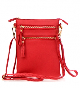 Double Zippered Pocket Clutch with Wristlet and Strap - K002 32706 Red