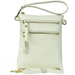Double Zippered Pocket Clutch with Wristlet and Strap - K002 - White
