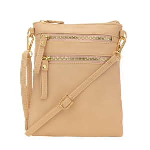 Double Zipper Crossbody Bag 32706 - Almond
