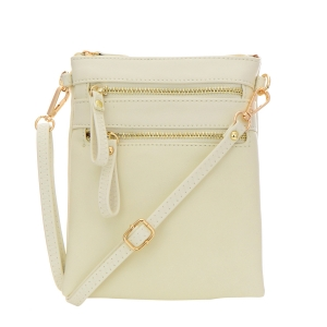 Double Zipper Crossbody Bag 32706 - Beige
