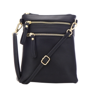 Double Zipper Crossbody Bag 32706 - Black