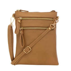 Double Zipper Crossbody Bag 32706 - Camel Clay
